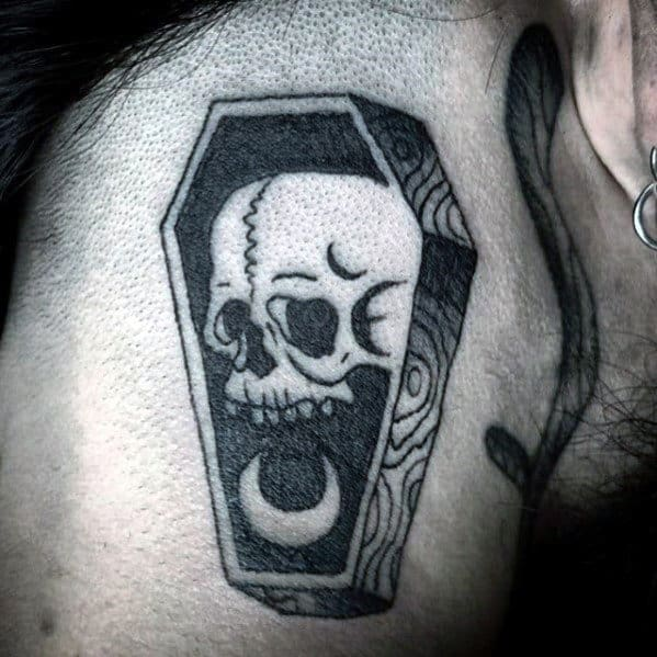 Coffin With Skull And Half Moon Mens Small Neck Tattoo