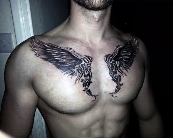 Collar Bone Angel Wings Guys Tattoos