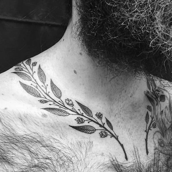 Collar Bone Laurel Wreath Mens Tattoo Ideas
