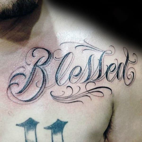 Collar Bone Male Blessed Tattoos