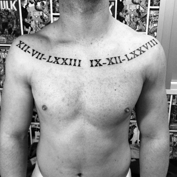 Collar Bone Male Roman Numeral Black Ink Tattoo Design Inspiration