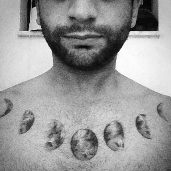 Collar Bone Mens Cool Moon Phases Tatto