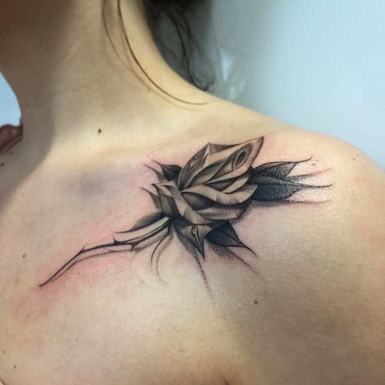 collar bone rose shoulder tattoos haris_jonson
