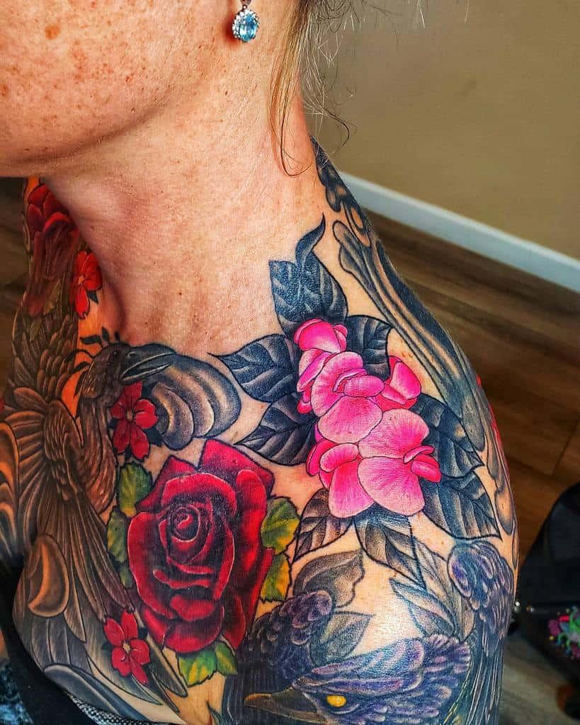 collar bone rose shoulder tattoos mctattedjess