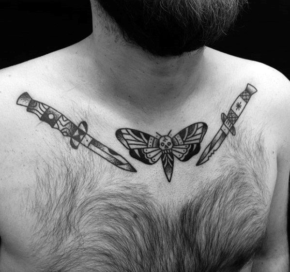 Collar Bone Traditional Guys Switchblade Tattoo Design Ideas