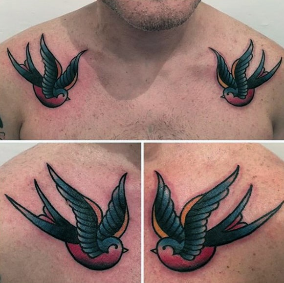 5c3fb2d39 70 Traditional Swallow Tattoo Designs For Men - Old School Birds