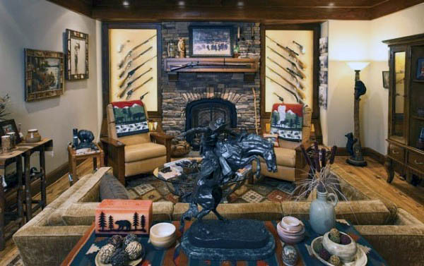 Collectors Gun Room Design With Seating Area