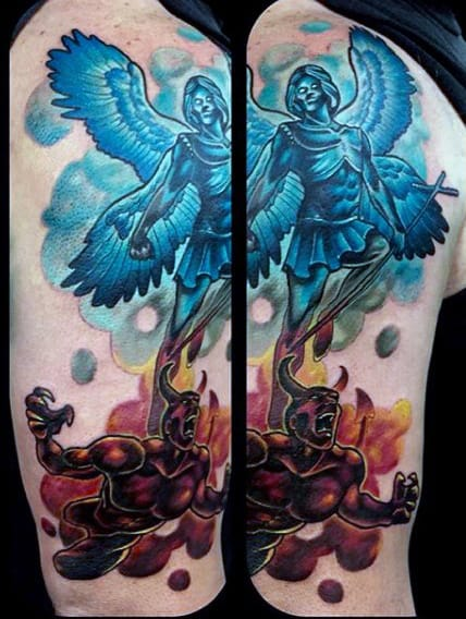 Color Archangel St Micheal Tattoos On Gentlemen