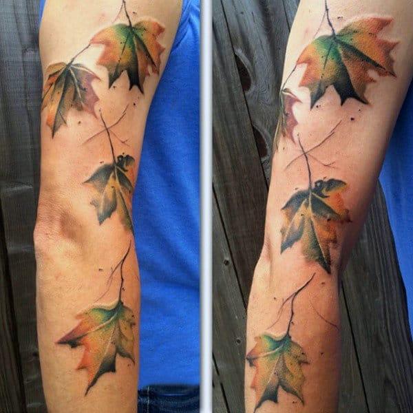 Color Autumn Leaf Tattoos For Guys On Arm