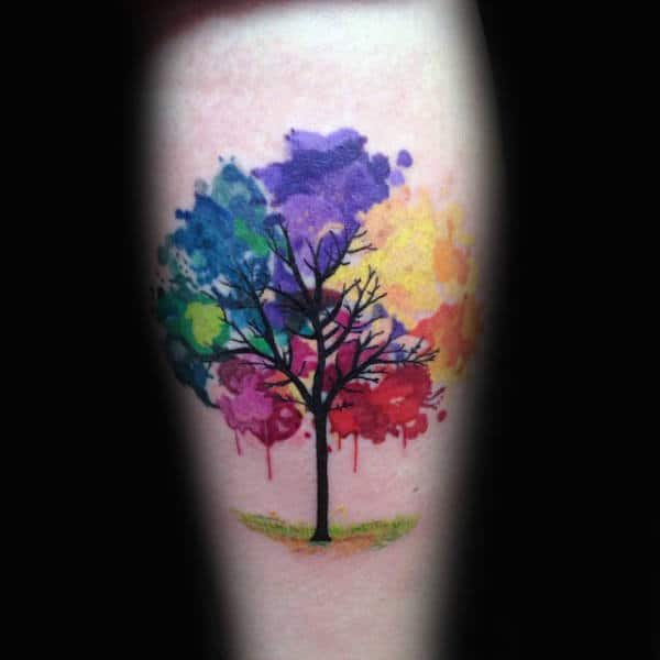 Tattoo Ideas Color: 70 Watercolor Tree Tattoo Designs For Men