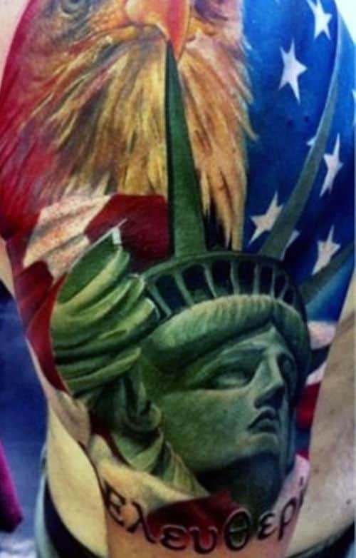 Color Fireworks Statue Of Liberty Mens Tattoos