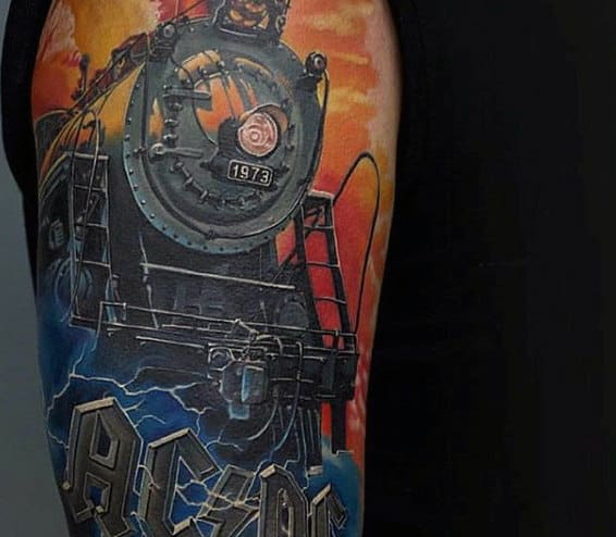 Color Flaming Train Tattoo For Guys