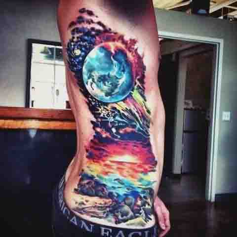 Color Full Rib Cage Side Space Moon Tatoos For Men