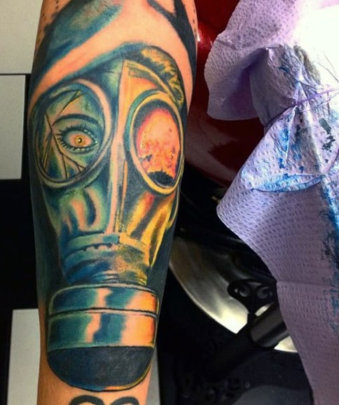 Color Gas Mask Tattoo On Forearm For Males