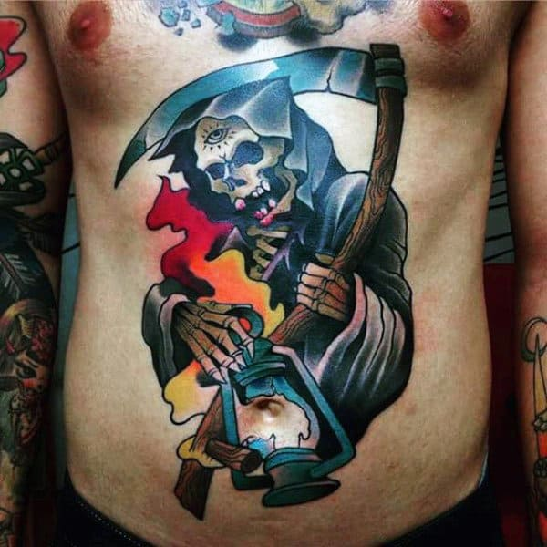 Color Grim Reaper Guys Tattoo On The Stomach With Broken Latern
