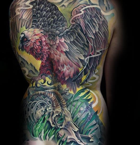 Color Guys Vulture With Skull In Grass Mens Full Back Tattoo