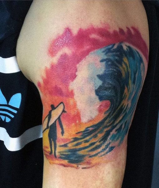 Sunset Color Guy's Water Waves Tattoo On Arm
