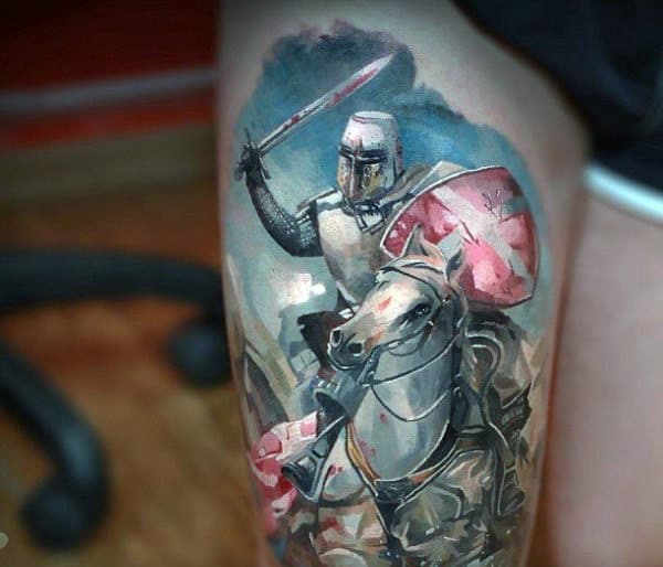 Color Knight Horse Riding Tattoo For Men On Leg Thigh