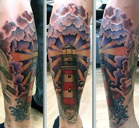 Color Leg Calf Lighthouse Tattoos For Men