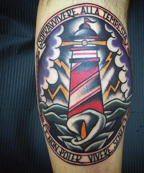 Color Lighthouse With Flower Tattoo For Men On Leg Calf