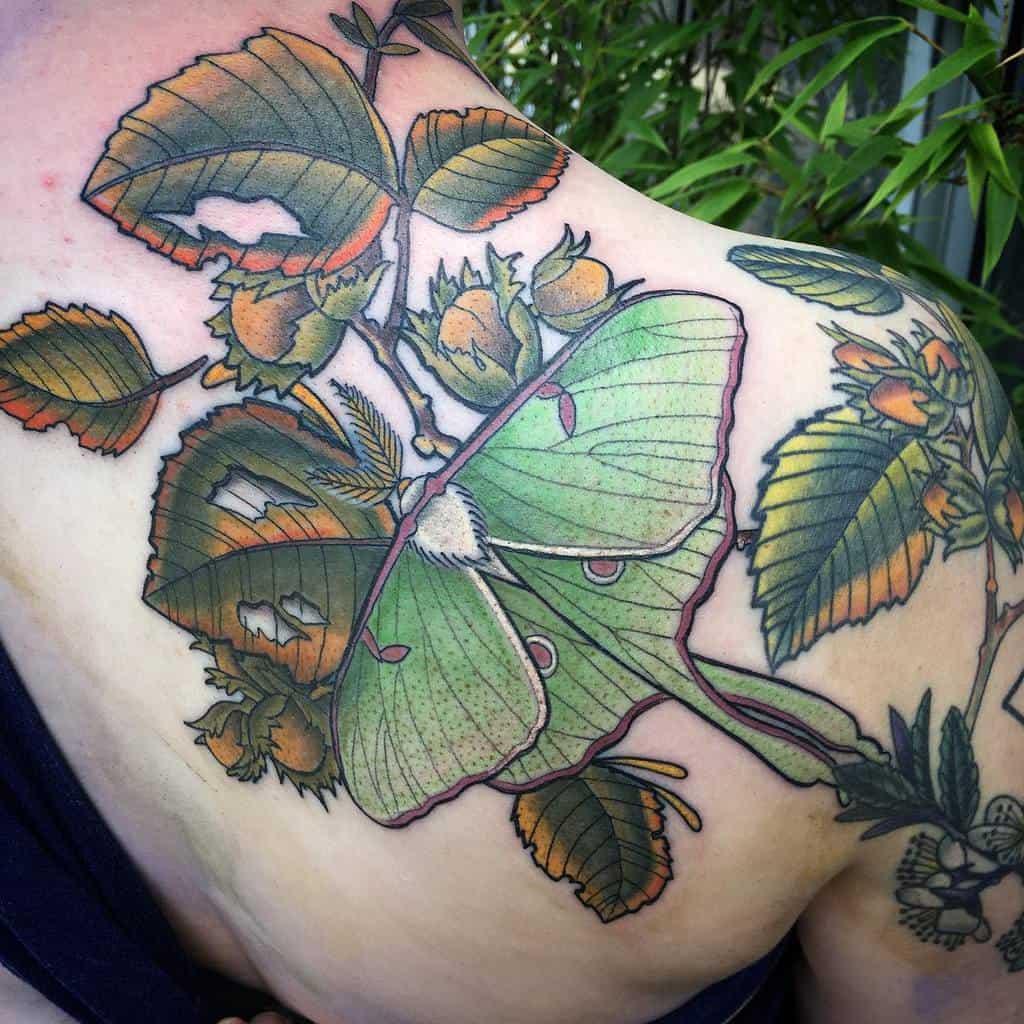 Color Luna Moth Paulzenktattoo