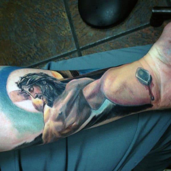 Color Male Christian Forearm Tattoos