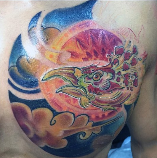Color Male Tattoos Of A Phoenix On Chest