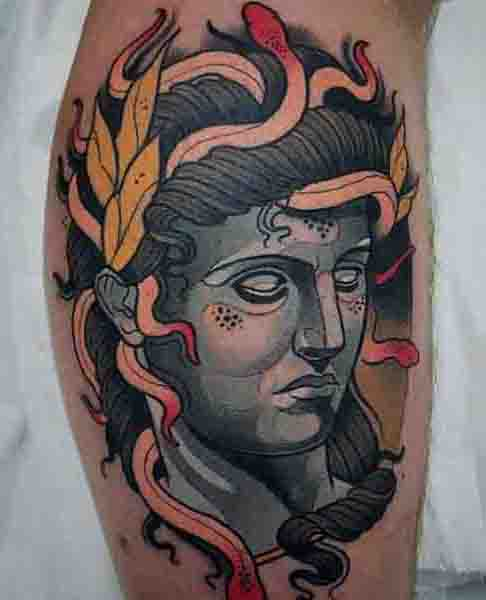 Color Medusa Abstract Tattoo On Bicep For Men