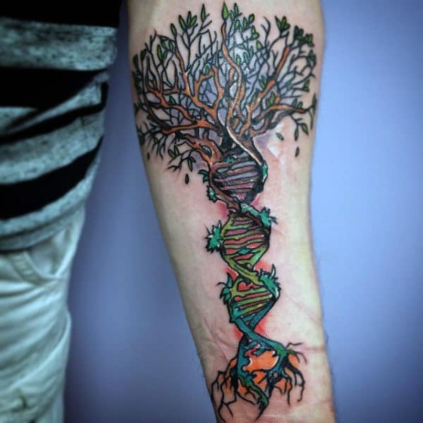 Color Mens Dna Forearm And Wrist Tattoos