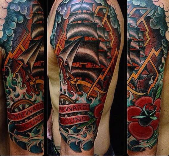Color Mens Double Lightning Bolt Tattoo