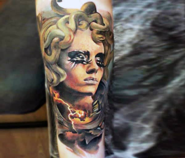 Color Mens Inner Forearm Tattoos
