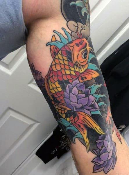 Color Men's Koi Fish Leg Tattoo