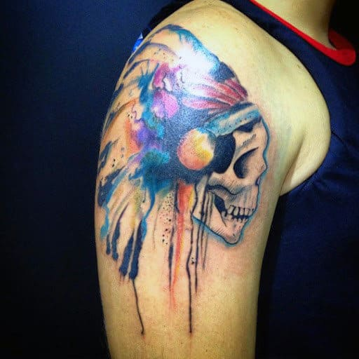 Color Men's Skull Tattoos On Shoulder