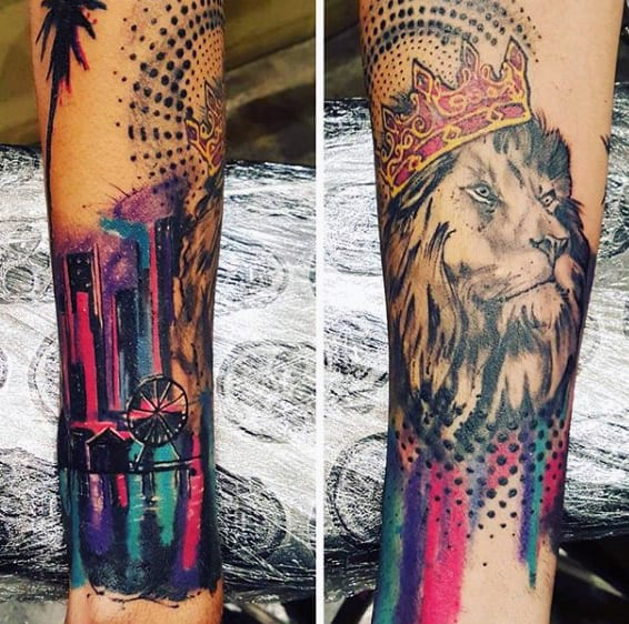 Color Modern Men's Mall Lion Tattoo