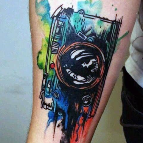 Color Sprayed Camera Tattoo Male Arms