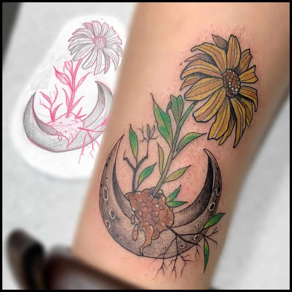 Forearm tattoo color surreal moon and daisy