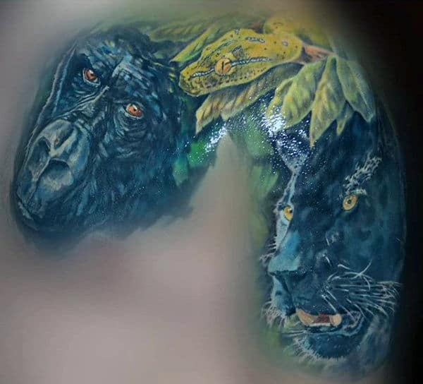 Color Tropical Forest Gorilla Jaguar And Snake Tattoo On Shoulder Of Man