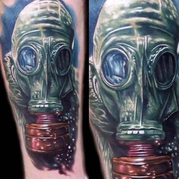 Color Underwater Gas Mask Mens Tattoo On Arm