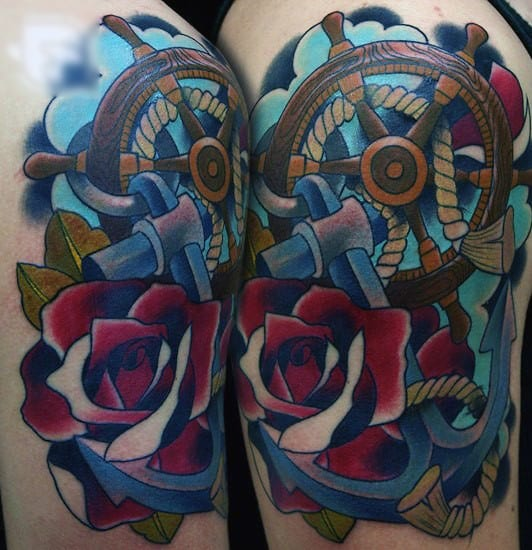 Color Upper Arm Guys Ship Wheel And Anchor Tattoos