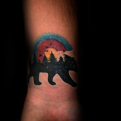 Colorado Bear Mens Small Wrist Tattoos