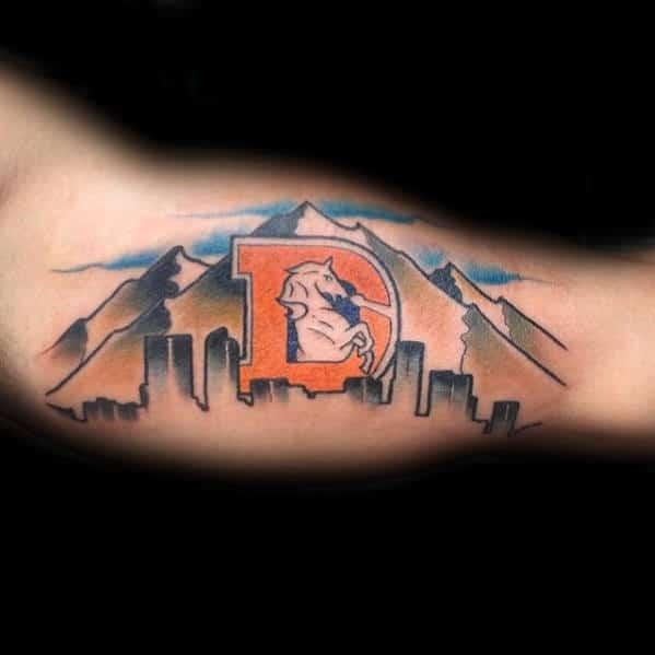 Colorado Denver Broncos Skyline Guys City Inner Arm Bicep Tattoo Design Ideas