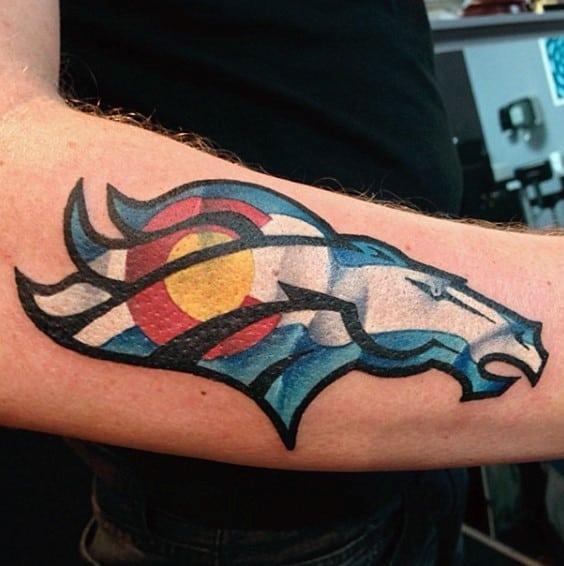 Colorado Flag Inside Denver Broncos Logo Mens Outer Arm Tattoo