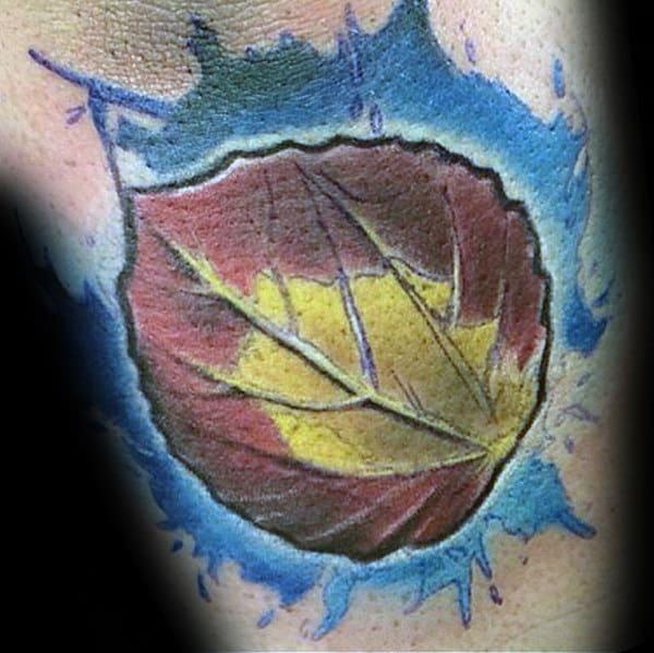 Colorado Leaf Mens Arm Tattoos