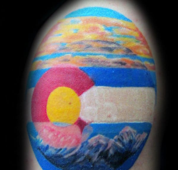 Colorado State Sunset Mens Upper Arm Tattoos