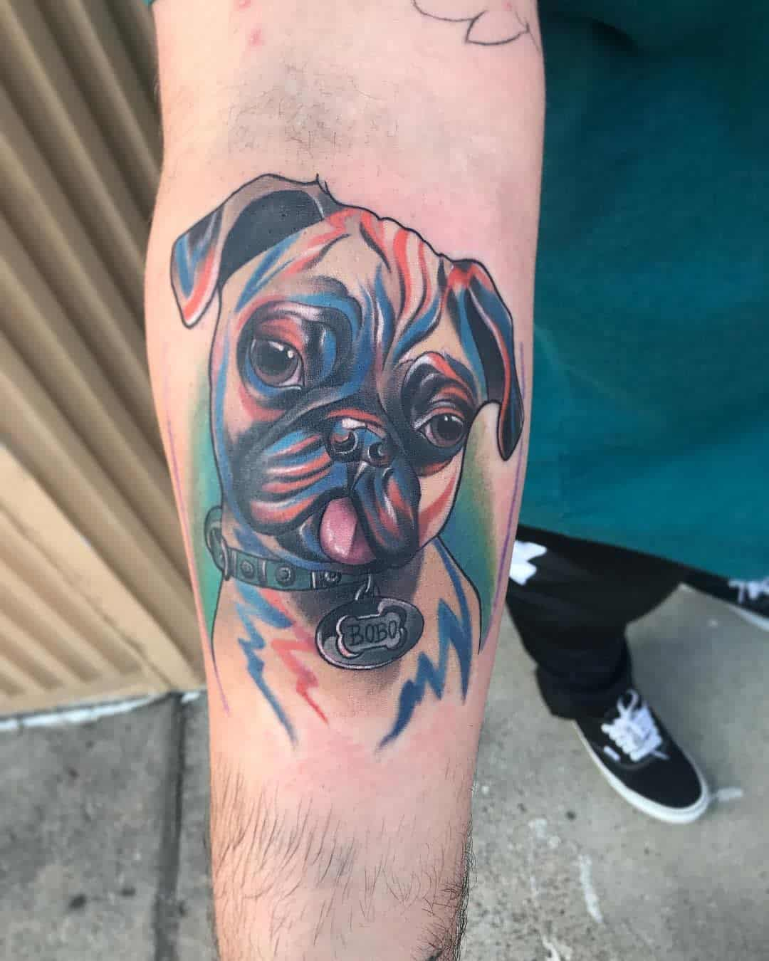 Colored And Watercolor Pug Tattoo Artista90