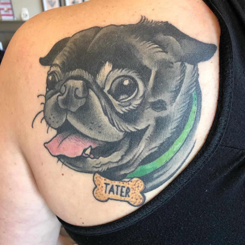Colored And Watercolor Pug Tattoo Bridget.rose.tattoo