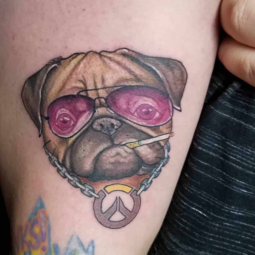 Colored And Watercolor Pug Tattoo Kristenprossertattoo