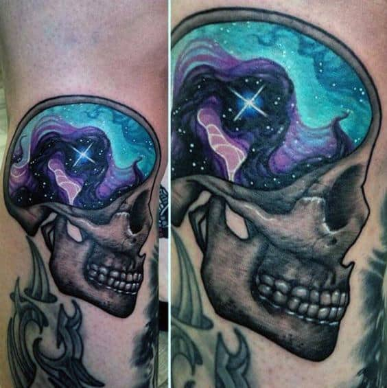 Colored Brain Of Grey Skull Tattoo Male Forearms