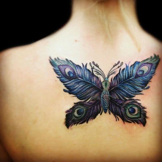 Colored Butterfly Peacock Feather Tattoo