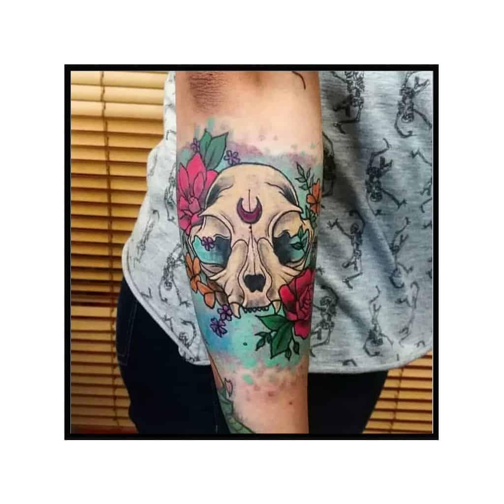 colored cat skull tattoo ardilla.tattoo